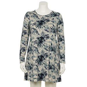Juniors' Plus Size Lily Rose Long Sleeve Tie Dye Knit Swing Dress