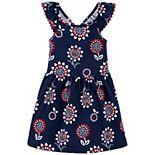 Toddler Girl Carter's Americana Floral Flutter Dress