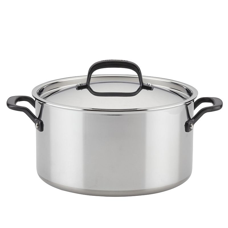 KitchenAid 5-Ply Clad 8-qt. Stainless Steel Stockpot with Lid, Silver, 8 QT