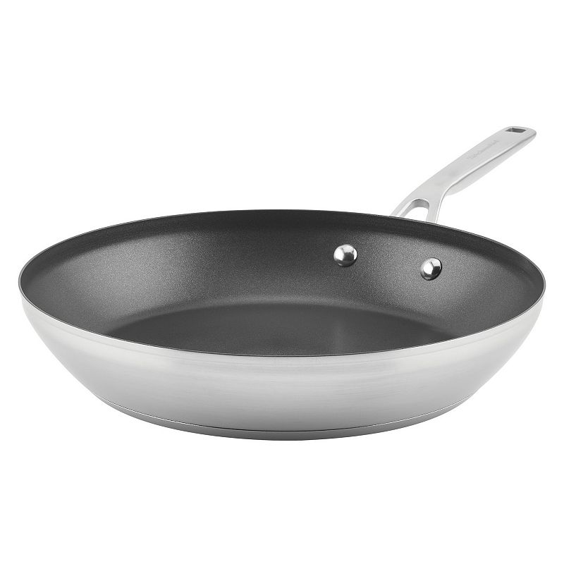 KitchenAid 3-Ply 12-in. Stainless Steel Nonstick Frypan, Silver, 12