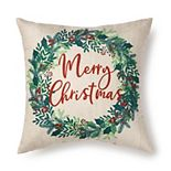 Holiday Wreath Printed Throw Pillow