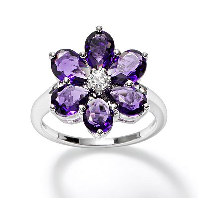 Simply Vera Vera Wang Sterling Silver Crystal Floral Ring