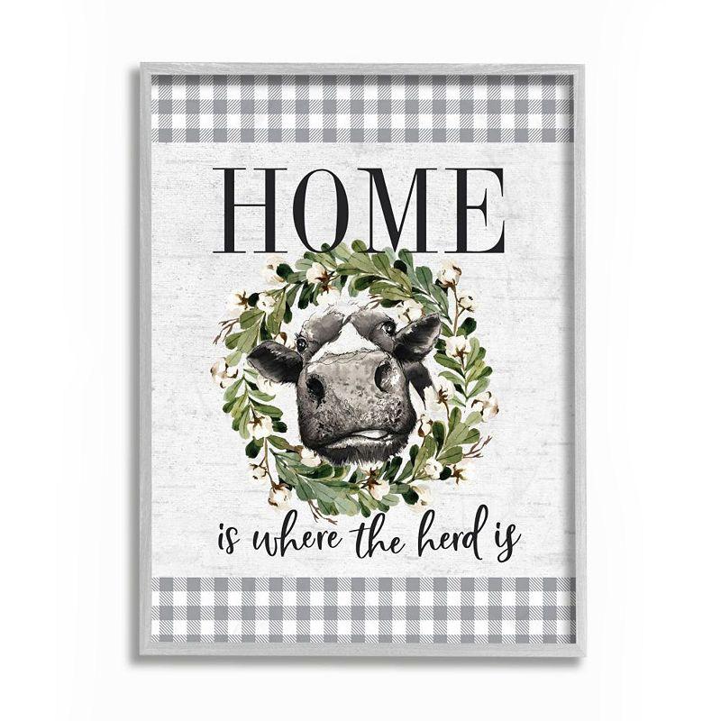 Stupell Home Decor Home Herd Farm Cow Framed Wall Art, Grey, 11X14
