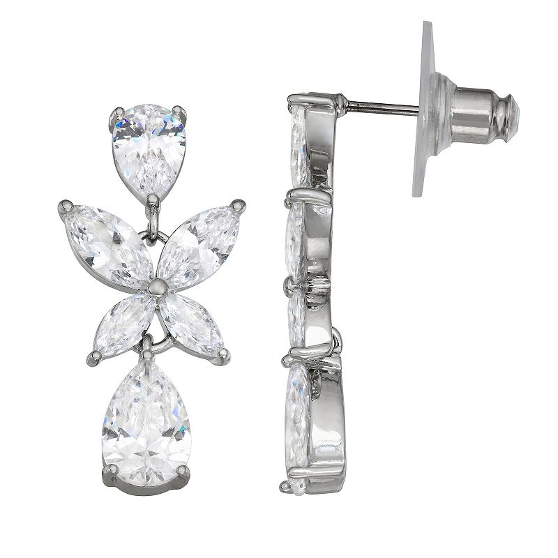 Simply Vera Vera Wang Silver Tone & Cubic Zirconia Cluster Double Drop Earrings, Women's