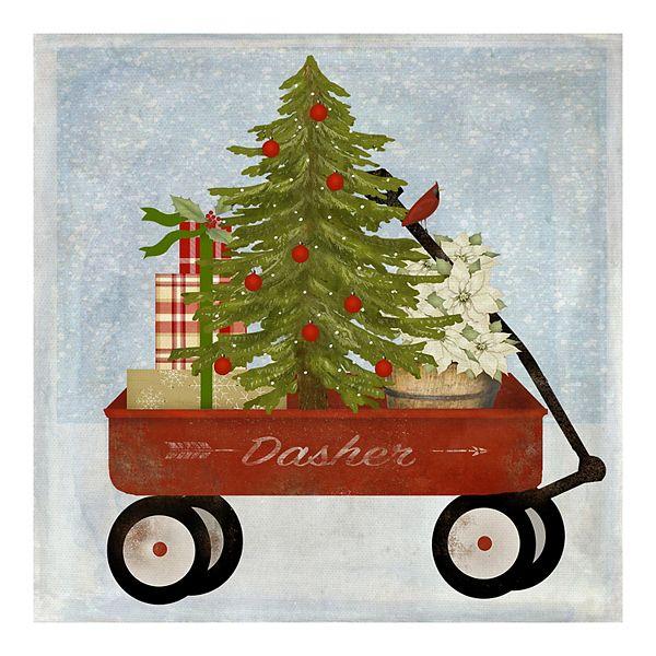 Fine Art Canvas Christmas Wagon Wall Art