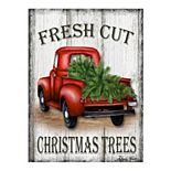 Fine Art Canvas Christmas Red Truck Wall Art