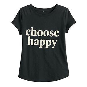 "Toddler Girl Family Fun? ""Choose Happy"" Graphic Tee"