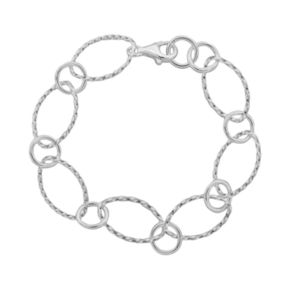 Sterling Silver Twist Oval Bracelet