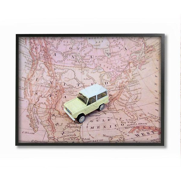 Stupell Home Decor Vintage World Traveler Retro Automobile Pink Map Wall Art