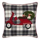 Mina Victory Christmas Moped Tree Throw Pillow