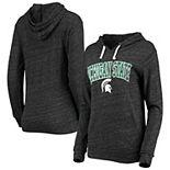 Women's New Era Heathered Black Michigan State Spartans Tri-Blend Hooded Long Sleeve T-Shirt
