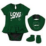 Newborn & Infant Green New York Jets Play Your Best Bodysuit, Bib & Booties Set