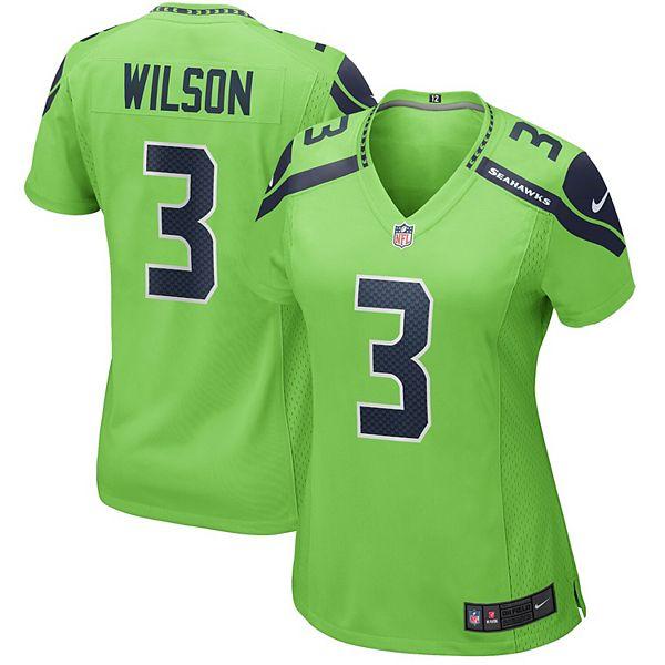 Women's Nike Russell Wilson Neon Green Seattle Seahawks Alternate Game Jersey