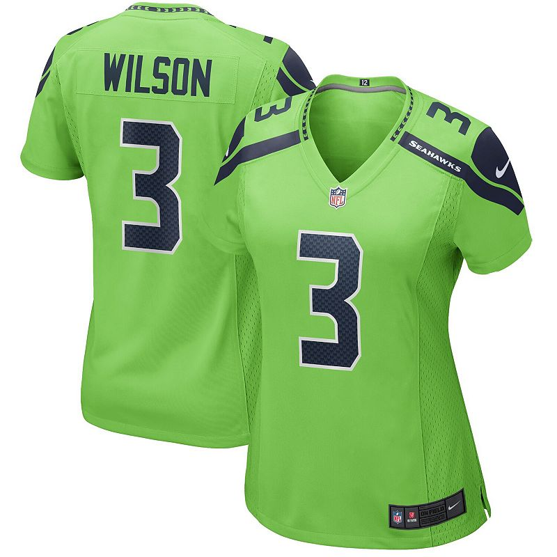 Women's Nike Russell Wilson Neon Green Seattle Seahawks Alternate Game Jersey, Size: Medium, Brt Green