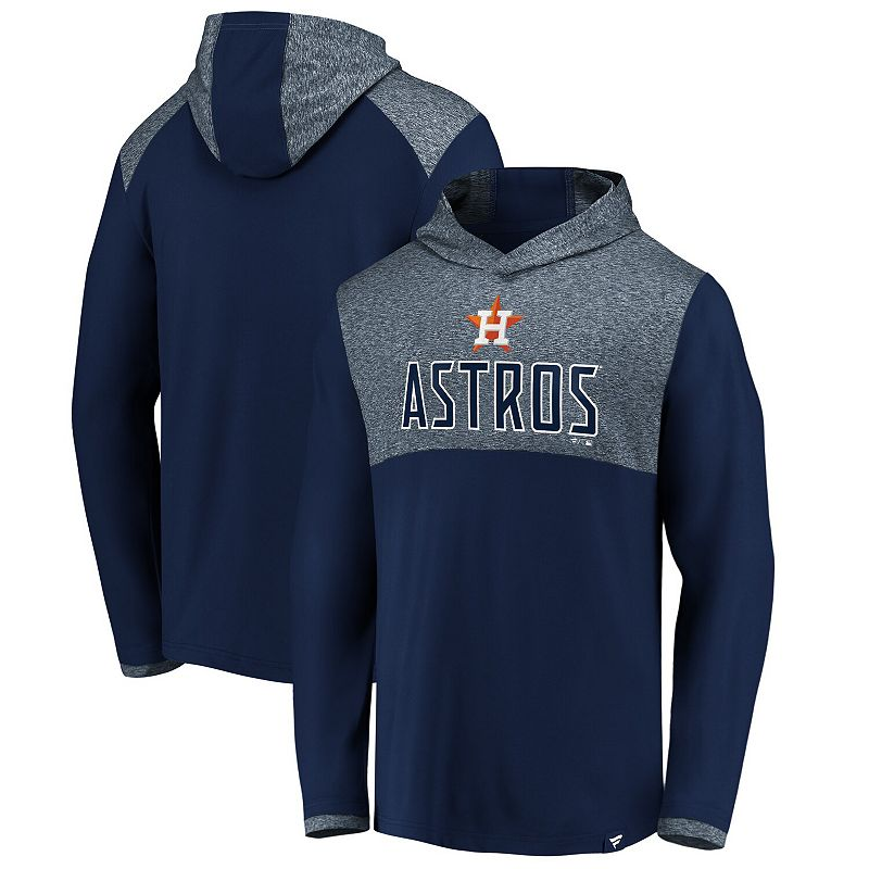 Men's Fanatics Branded Navy Houston Astros Iconic Marbled Clutch Lightweight Pullover Hoodie. Size: 5XL. Blue