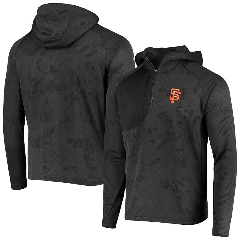 Men's Levelwear Charcoal San Francisco Giants The Fuze Raglan Quarter-Zip Pullover Hoodie, Size: Small, Grey