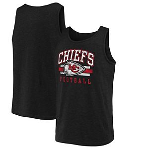 Men's NFL Pro Line by Fanatics Branded Black Kansas City Chiefs Distressed Logo Tank Top
