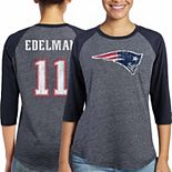 Women's Majestic Julian Edelman Navy New England Patriots Player Name & Number Tri-Blend Three-Quarter Sleeve T-Shirt
