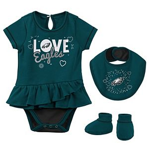 Newborn & Infant Midnight Green Philadelphia Eagles Play Your Best Bodysuit, Bib & Booties Set