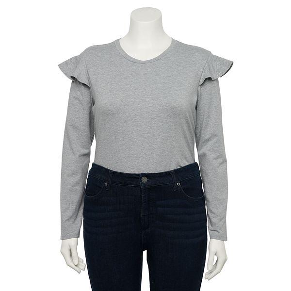 Juniors' Plus Size Lily Rose Ruffle-Sleeve Bodysuit