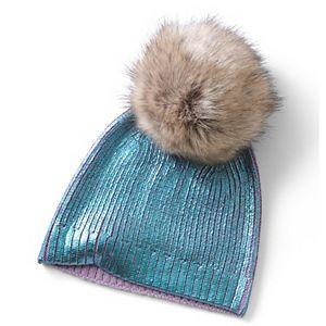 Kids 4-16 Lands' End Shiny Metallic Knit Beanie Hat