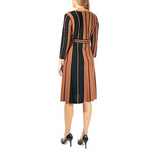 Women's Nina Leonard Surplice Stripe Fit & Flair Sweater Dress