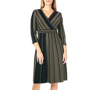 Women's Nina Leonard Surplice Stripe Fit & Flair Sweater Dress