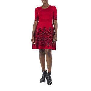 Women's Nina Leonard Fit & Flair Sweater Dress with Ribbed Waist