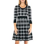 Women's Nina Leonard Plaid Knit Fit & Flair Sweater Dress