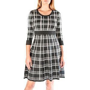 Women's Nina Leonard Plaid Knit Fit & Flair Sweater Dress