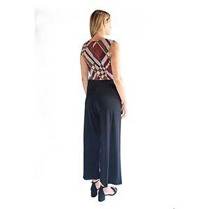 Women's Nina Leonard Puff Print Wide-Leg Jumpsuit with Tie Front