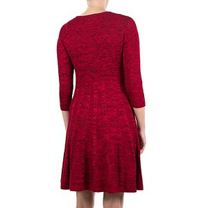Women's Nina Leonard Pleated Skirt Fit & Flair Sweater Dress