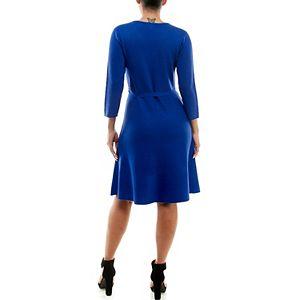 Women's Nina Leonard Fit & Flair Sweater Dress with Self-Tie Sash