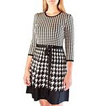 Women's Nina Leonard Houndstooth Fit & Flair Sweater Dress