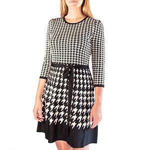 Women's Nina Leonard Houndstooth Fit & Flair Sweater Dress