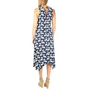 Women's Nina Leonard Elephant Print Lace-Up Maxi Dress