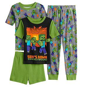 Boys 6-12 Minecraft Suns Down 4-Piece Pajama Set
