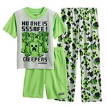 Boys 6-12 Minecraft No One is Safe Top, Shorts & Pants Pajama Set
