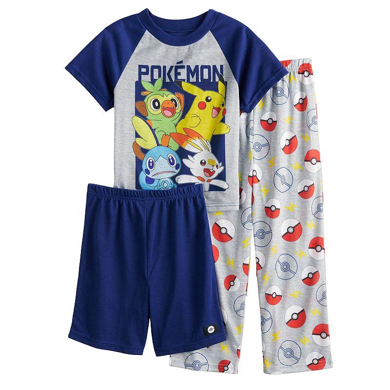Boys 6-12 Pokemon Game Day 3-Piece Pajama Set, Boy's, Size: 10