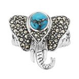 Lavish by TJM Sterling Silver Simulated Turquoise Elephant Ring