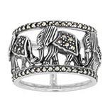 Lavish by TJM Sterling Silver Elephant Band Ring