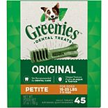 Greenies Original Petite Natural Dog Dental Care Chews Oral Health Dog Treats - 27-oz. Pack (45 Treats)