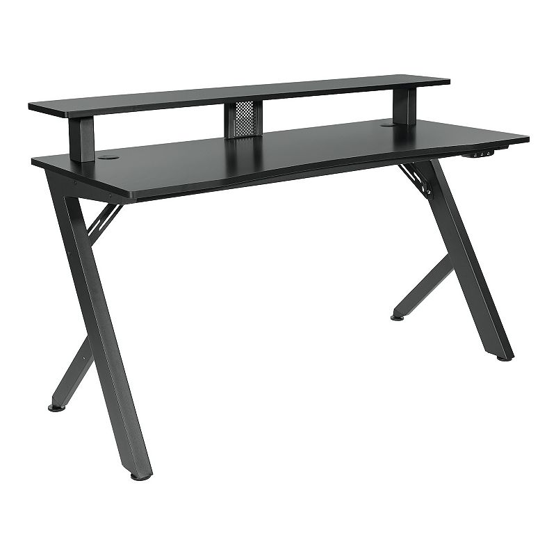 OSP Home Furnishings Area51 Battle Station Gaming Desk, Black