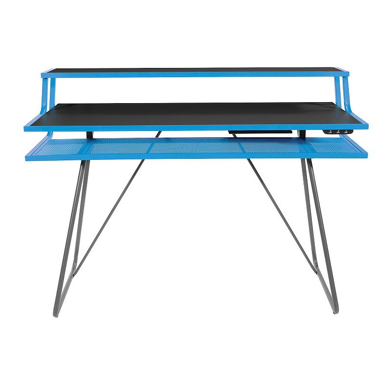 OSP Home Furnishings Glitch Battle Station Gaming Desk, Blue