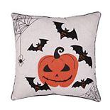 Tempo Home Pumpkin and Bats Halloween Throw Pillow