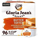 Gloria Jean's Butter Toffee Coffee, Keurig® K-Cup® Pods, Medium Roast, 96 Count