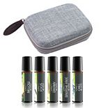 Aroma2Go Essential Oil Roll-On Travel Bundle with Five Pure Essential Oils and Hemp Travel Carry Hard Case - Ocean