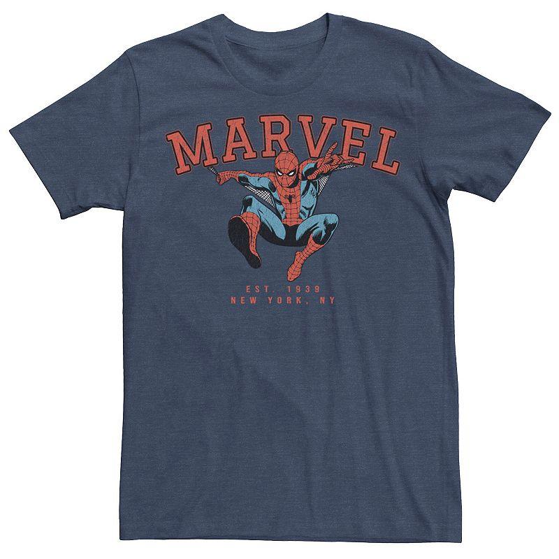 Men's Marvel Collegiate Spidey Comic Tee, Size: Medium, Med Blue