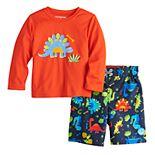 Toddler Boy ZeroXposur Dinosaur Rashguard Top & Swim Trunks Set