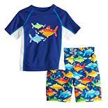 Toddler Boy ZeroXposur Shark Rashguard Top & Swim Trunks Set